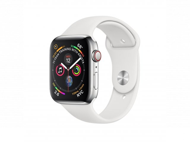 For sale - Refurbished AppleWatch Series4 GPS+Cellular, 44mm Stainless Steel Case with White Sport Band