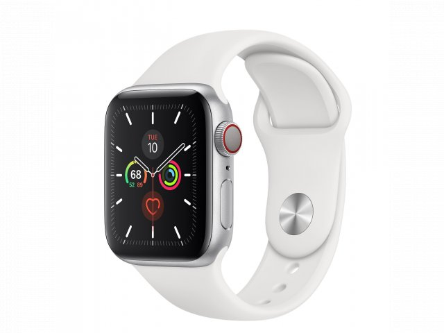 For sale - Refurbished Apple Watch Series 5 GPS + Cellular, 40mm Silver Aluminium Case with White Sport Band